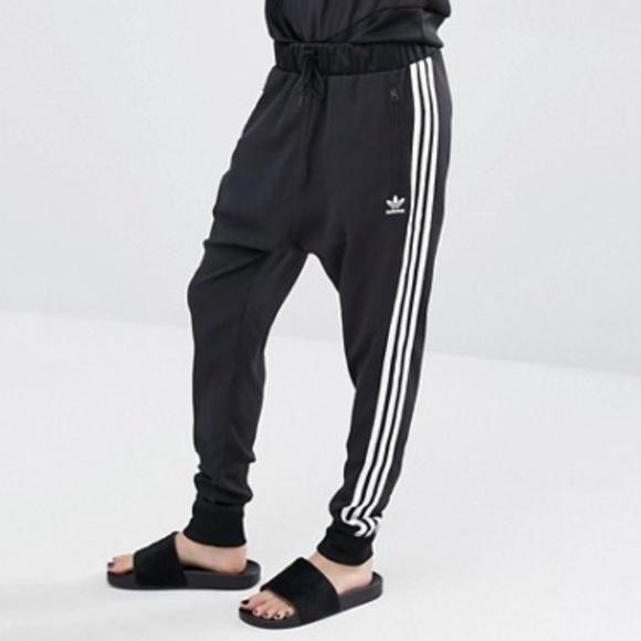 Adidas 3 stripe drop crotch joggers